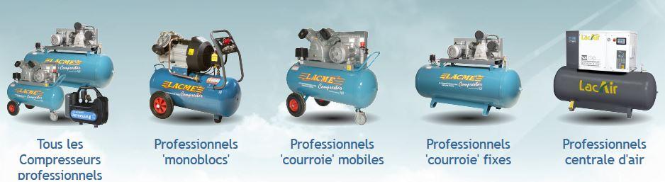 Gamme de produits Lacmé, compresseur, garage Petit Collin, mécanicien, Queudes, Sézanne, Vertus, Epernay, Marne, 51